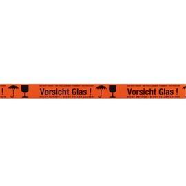 """PVC Klebeband signalorange mit Warndruck 50mm x 66m / """"Vorsicht Glas"""" 35µ / Naturkautschuk / Monta 250 (RLL=66 METER) Produktbild"""