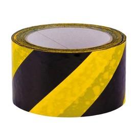 PVC Warnmarkierungsband gelb/schwarz 60mm x 66m / 33µ / Naturkautschuk (RLL=66 METER) Produktbild