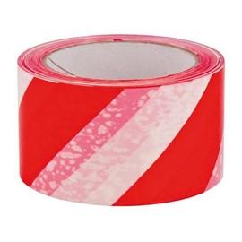 PVC Warnmarkierungsband weiß/rot 60mm x 66m / 33µ / Naturkautschuk (RLL=66 METER) Produktbild
