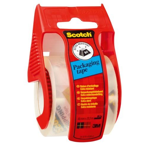 Handabroller + 1Rolle Packband 50,8mmx20,3m extra transparent Scotch E5020D Produktbild