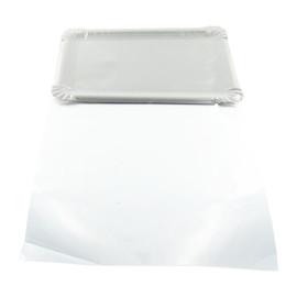 Aufschnittteller 17,5x25cm mit Folie weiß / für 500g Aufschnitt (KTN=250 STÜCK) Produktbild