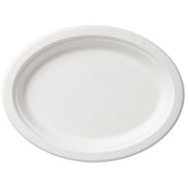 Bagasse Teller 19,5x26cm / oval / weiß (PACK=125 STÜCK) Produktbild