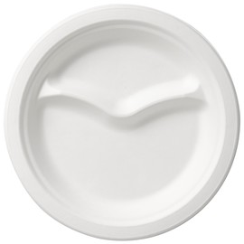 Bagasse Teller ecoecho Ø22cm / 2-geteilt weiß (PACK=50 STÜCK) Produktbild
