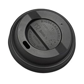 CPLA Deckel / Coffee To Go Becher / 0,2l / schwarz / 80mm (PACK=100 STÜCK) Produktbild