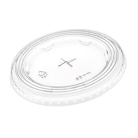 Flachdeckel mit Kreuzschlitz Ø95mm glasklar Apet (PACK=100 STÜCK) Produktbild