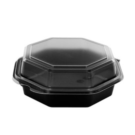 PS Salatschalen mit Klappdeckel Octaview 160x160x60mm / 400ml / schwarz-transparent / Duni 127765 (KTN=405 STÜCK) Produktbild