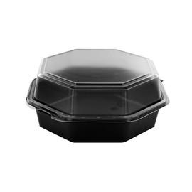 PS Salatschalen mit Klappdeckel  Octaview 190x190x80mm / 850ml /  schwarz-transparent / Duni 127801 (KTN=270 STÜCK) Produktbild