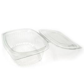 rPET Salatschalen oval mit Klappdeckel 124x150x55mm  / 500ml / transparent / mit abgeschrägten Kanten (PACK=50 STÜCK) Produktbild