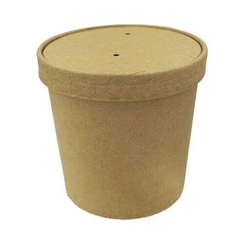Pappe Suppenbecher Ø118mm Höhe 108mm 750ml PLA-Beschichtung braun (PACK=25 STÜCK) Produktbild Additional View 2 L