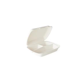 Bagasse Menüschale 3-geteilt / 245x210x75mm / weiß (KTN=200 STÜCK) Produktbild