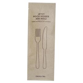 Holz Besteckset 3-teilig (Gabel, Messer, Serviette) in geschlossener Papierhülle (KTN=100 SETS) Produktbild