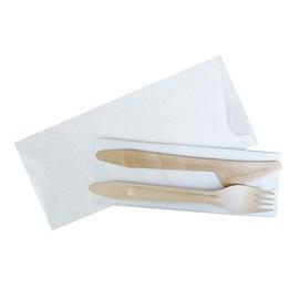 Holz Besteckset 3-teilig / Gabel, Messer, Servietten in Papierhülle (KTN=100 STÜCK) Produktbild