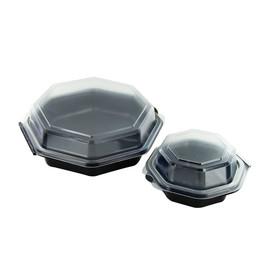 PS Salatschalen mit Klappdeckel Octaview 190x190x60mm / 640ml / schwarz-transparent / Duni 127800 (PACK=270 STÜCK) Produktbild