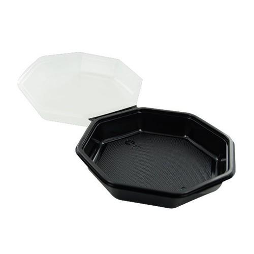 PS Salatschalen mit Klappdeckel  Octaview 118x118x60mm / 200ml / schwarz-transparent / Duni 866013 (PACK=375 STÜCK) Produktbild