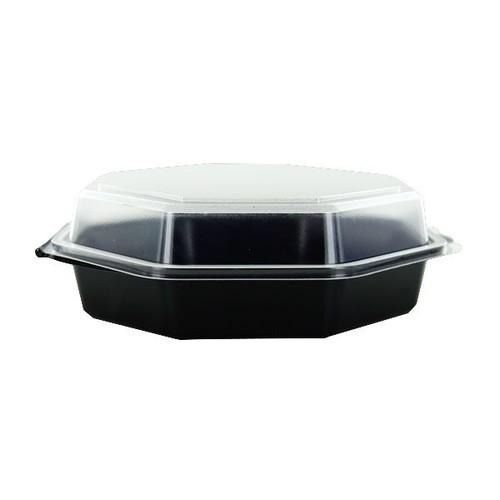 PS Salatschalen mit Klappdeckel  Octaview 118x118x60mm / 200ml / schwarz-transparent / Duni 866013 (PACK=375 STÜCK) Produktbild Additional View 2 L