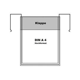 Drahtbügeltasche DIN A4 Hochformat mit Klappe Produktbild