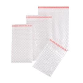 LDPE Luftpolsterbeutel transparent 200 x 200 + 50mm Klappe / 80µ / 3-lagig mit Selbstklebeverschluss (KTN=500 STÜCK) Produktbild