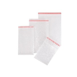LDPE Luftpolsterbeutel transparent 200 x 300 + 50mm Klappe / 80µ / 3-lagig mit Selbstklebeverschluss (KTN=350 STÜCK) Produktbild