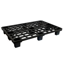 HDPE Leichtpalette schwarz 80 x 120 cm / mit Sicherungrand / 9 Füße Produktbild
