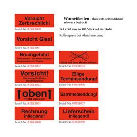 """Warnetiketten """"Vorsicht Glas"""" 145x50mm / fluor-rot (500 Etiketten / Rolle) Produktbild"""
