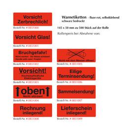 """Warnetiketten """"Lieferschein inliegend"""" 145x50mm / fluor-rot (500 Etiketten / Rolle) Produktbild"""