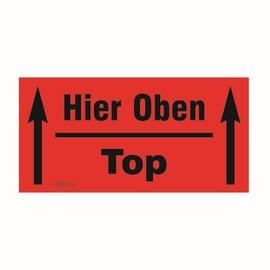 "Etikett rot selbstklebend 140 x 70mm / ""Hier Oben / Top"" (RLL=1000 STÜCK) Produktbild"