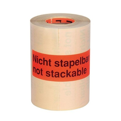"Etikett mit Warndruck leuchtrot 150 x 50mm / ""Nicht stapelbar"" 1-farbig schwarz bedruckt (RLL=1000 STÜCK) Produktbild Additional View 1 L"