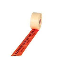 """Etikett mit Warndruck leuchtrot 70 x 145mm / """"Vorsicht nicht werfen!"""" 1-farbig schwarz bedruckt (RLL=1000 STÜCK) Produktbild"""