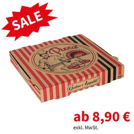 Pizzakarton Neutraldruck Modell NYC Kraft 22x22x4,2cm braun (PACK=100 STÜCK) Produktbild