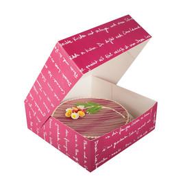 Tortenkarton mmmhh 1-teilig / 33x33x11cm / bordeaux (KTN=50 STÜCK) Produktbild