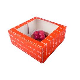 Tortenkarton mmmhh mit Sichtfenster 1-teilig / 19x19x8cm  / orange (KTN=80 STÜCK) Produktbild
