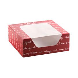 Tortenkarton 1-teilig mit Sichtfenster mmmhh 18,5x18,5x7cm bordeaux 4er Krapfen (KTN=100 STÜCK) Produktbild