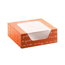 Krapfenkarton 4er mmmhh mit Sichtfenster 1-teilig / 18,5x18,5x7cm / orange / (KTN=100 STÜCK) Produktbild