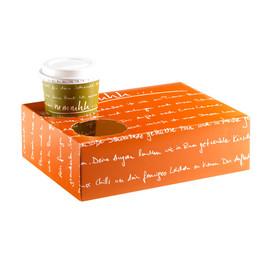 Snackkarton mit Ausstanzung für Becher mmmhh orange (KTN=80 STÜCK) Produktbild