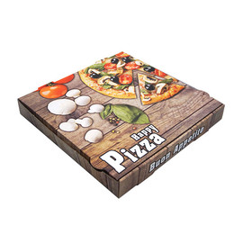 Pizzakarton Neutraldruck Modell NYC Piccante 30x30x4,2cm / braun (PACK=100 STÜCK) Produktbild