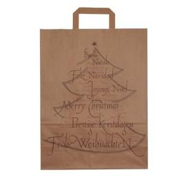 Papiertragetaschen Weihnachtsbaum 32x14x42cm / 80g / braun / mit Flachhenkel Produktbild