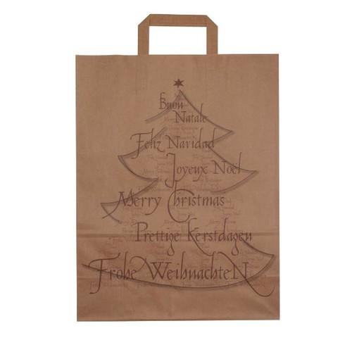 Papiertragetaschen Weihnachtsbaum 32x14x42cm / 80g / braun / mit Flachhenkel Produktbild Front View L
