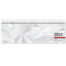 Querkalender 2022 32x9,5cm 1Woche/2Seiten weiß Wire-O-Spiralbindung Zettler 166-0002 Produktbild