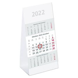 Tisch-Dreimonatskalender 2022 9,5x19,5cm grau/weiß Karton Zettler 980-0000 Produktbild