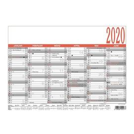 Arbeitstagekalender 2020 A4 29,7x21cm 6Monate/1Seite schwarz/rot Karton Zettler 907-0000 Produktbild