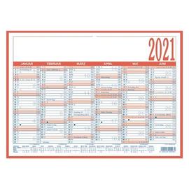 Arbeitstagekalender 2021 A4 29,7x21cm 6Monate/1Seite blau/rot Pappe kaschiert Zettler 908-1315 Produktbild