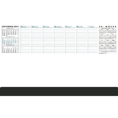 Schreibunterlage Practica mit Kalen- darium 2021 und schwarzer Leiste 37x60cm 52Blatt Papier Zettler 102-1020 Produktbild Front View L
