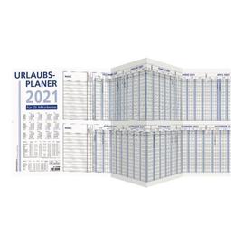 Urlaubsplaner 2021 für 25 Personen 1000x29,7cm 6Monate/1Seite grau/blau Zettler 992-0000 Produktbild