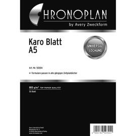 Blätter Karo für Organizer A5 148x210mm 80g weiß Chronoplan 50304 (PACK=50 BLATT) Produktbild