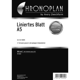 Blätter liniert für Organizer A5 148x210mm 80g weiß Chronoplan 50305 (PACK=50 BLATT) Produktbild