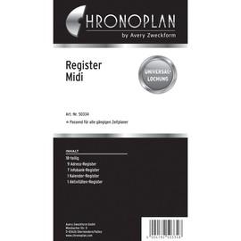 Register A-Z + Info für Organizer Midi 96x172mm 18-teilig Chronoplan 50334 Produktbild